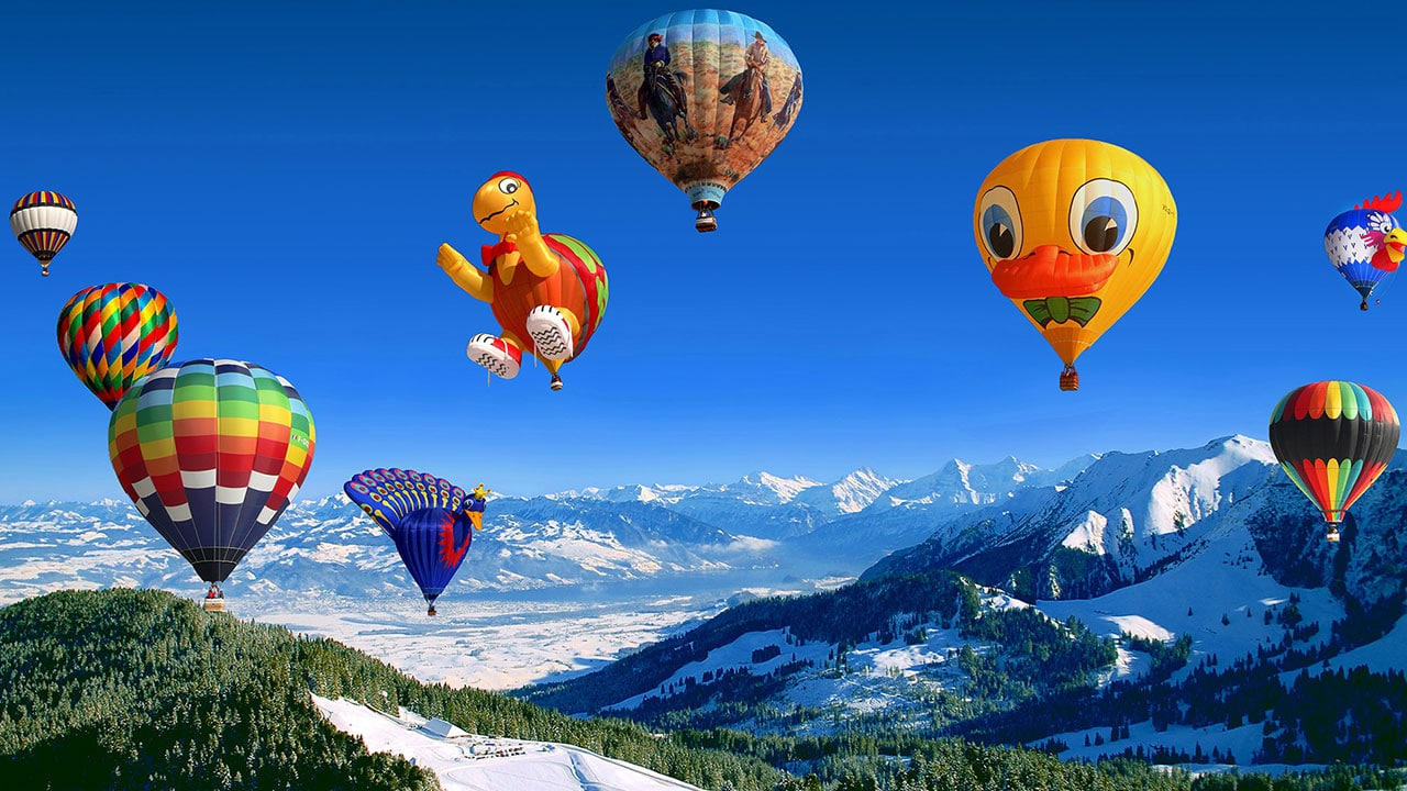 Hot Air Balloon Festival Snow Mountains